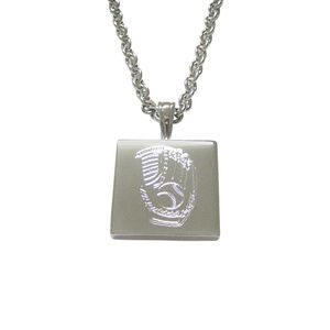 Silver Toned Etched Baseball Glove Unisex Necklace